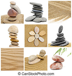 zen stones collage - a collage of nine pictures of zen...