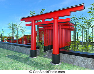 3D CG rendering of torii - Image of gateway to a Shinto...