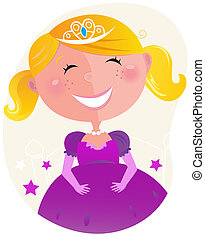 Cute little princess in pink dress - Vector cartoon...