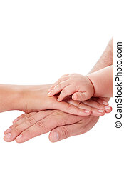 Protection - Image of parental palms with newborn baby hand...