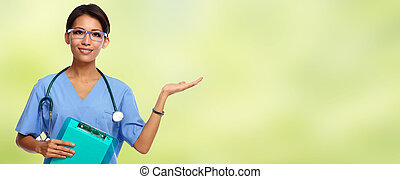 Chinese nurse woman - Chinese doctor woman over green...