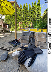 Stone Pavers and Tools for Backyard Hardscape - Stone Bricks...