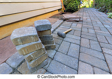 Stone Pavers and Tools for Side Yard Hardscape - Stone...