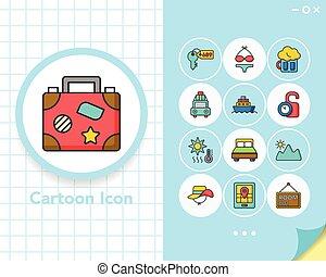 icon set travel vector