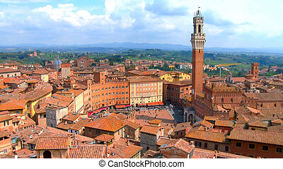 Historic center of Siena. - Aerial view of the historic...