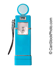 Vintage blue fuel pump on white - Old blue petrol gasoline...