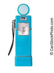 Vintage blue fuel pump on white - Old blue petrol gasoline...