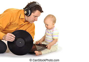 Dad with baby playing music