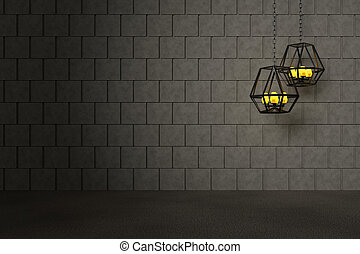 Concrete Wall with Lantern Background, 3D Rendering