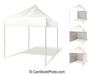 Vector pop up tent for outdoor event - Vector pop up white...