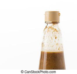 salted soya bean bottle on white