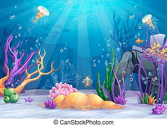 Underwater world cartoon illustration - Marine Life...