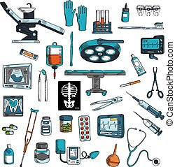 Medical instruments and equipments sketch icons - Medical...