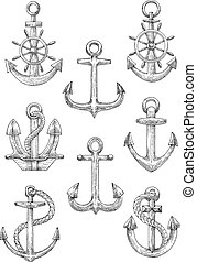 Engraving sketched anchors with helms and ropes - Retro...