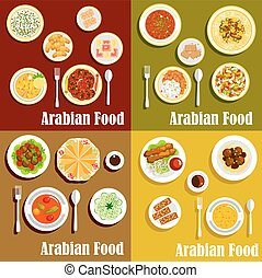 Popular wholesome dishes of arabian cuisine icons - Bright...