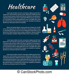 Healthcare banner design with flat medical icons - Health...