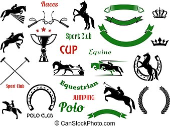 Equestrian sports design elements with horses