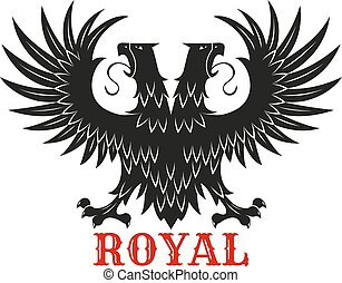 Royal double headed eagle black heraldic symbol - Royal...