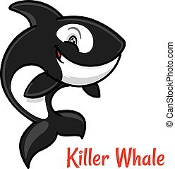 Cartoon black and white killer whale or orca - Black and...