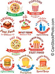 Fast food cafe or pizzeria badges design