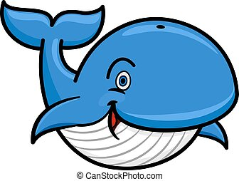 Blue baleen whale cartoon character - Cartoon baleen whale...
