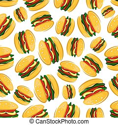 Seamless barbecue hamburgers pattern background - Cartoon...