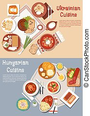 Hearty ukrainian and hungarian dinners flat icon - National...