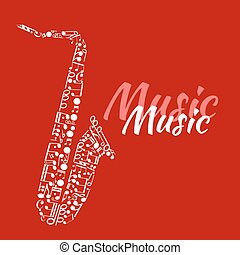 Saxophone made up of musical notes - Jazz concert or...