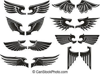Spread heraldic wings black icons - Spread wings design...
