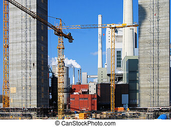 Power Plant Construction Site - Construction site for a new...