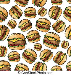 Seamless grilled cheeseburgers pattern background - Crispy...