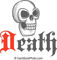 Gothic skull icon for Halloween mascot design - Sketched...