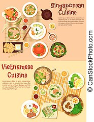 Vietnamese and singaporean cuisine flat icon - Asian cuisine...