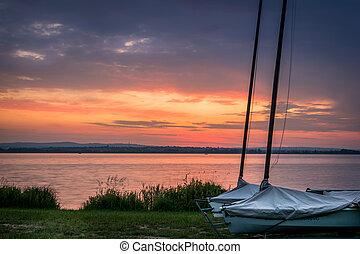 Sunrise and ships - Nice sunrise reflection on lake behind...