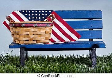 American Park Bench. - Blue park bench with handmade basket...