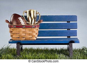 Park bench and football . - Blue park bench with handmade...
