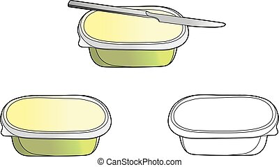 Plate butter - Vector illustration of a butter plate, EPS 8...