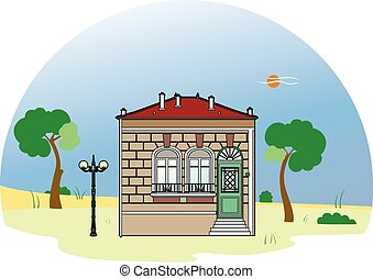 House with two windows - Vector illustration of an old...
