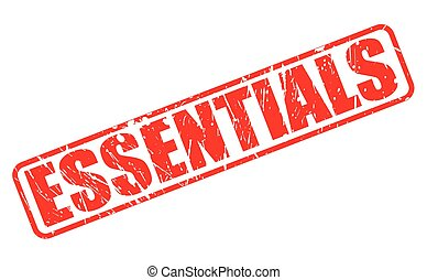 ESSENTIALS RED STAMP TEXT ON WHITE