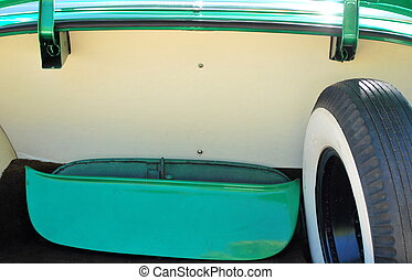 Classic car trunk. - Classic car trunk with spare whitewall...