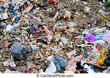 Disposal site - Huge pile of municipal waste on a disposal...