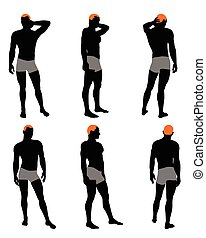 Set of men silhouette