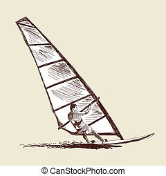 Windsurfing sketch set. Vector EPS 10 illustration without...