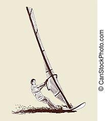 Windsurfing sketch set Vector EPS 10 illustration without...