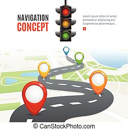 Navigation Concept Vector - Navigation Concept with Traffic...