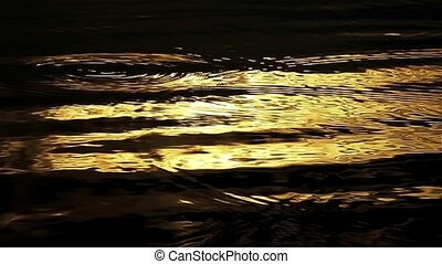 Golden water light. Loop - Twinkle golden light of sunset in...