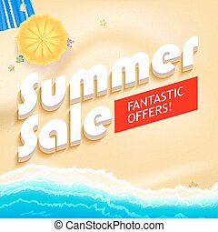 Summer sale bright vector background Sunny sandy beach with...