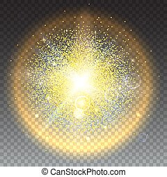 Glowing ball with particles - Bright glowing ball filled...