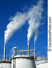 Smoking stacks - Silo and smoking stacks of a chemical plant