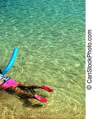 Swimming girl - Girl swiiming on the ocean shore